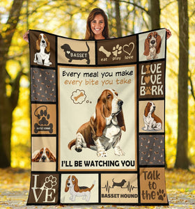 Dog Blanket Basset Hound Dog Every Meal You Make Fleece Blanket