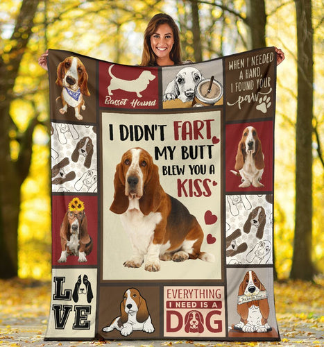 Dog Blanket I Didn't Fart Basset Hound Funny Dog Lovers Fleece Blanket