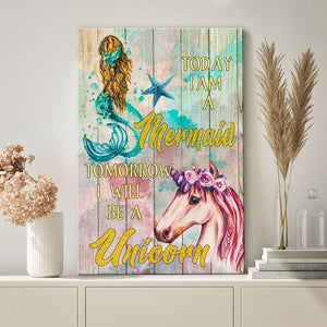 Daughter Unicorn Mermaid Canvas Print Wall Art - Tomorrow I will be a unicorn - Anniversary Birthday Christmas