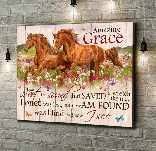 Horse Canvas Wall Art – Amazing Grace - Anniversary Birthday Christmas Housewarming Gift Home Decor