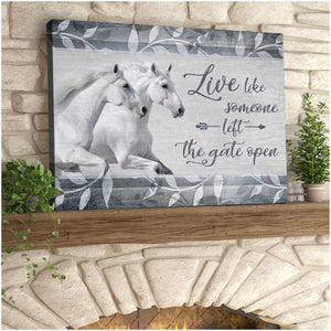 Horse Canvas The Gate Open Wall Art Decor - Anniversary Birthday Christmas Housewarming Gift Home Decor