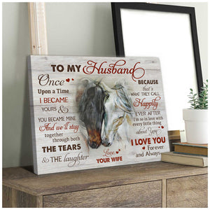 Beautiful Horse Canvas To my Husband Wall Art Decor - Anniversary Birthday Christmas Housewarming Gift Home Decor