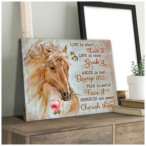 Gorgeous Horse Canvas Life is Short Horse Wall Art Decor - Anniversary Birthday Christmas Housewarming Gift Home Decor