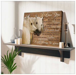 Gorgeous Horse Canvas I Love You Horse Wall Art Decor - Anniversary Birthday Christmas Housewarming Gift Home Decor