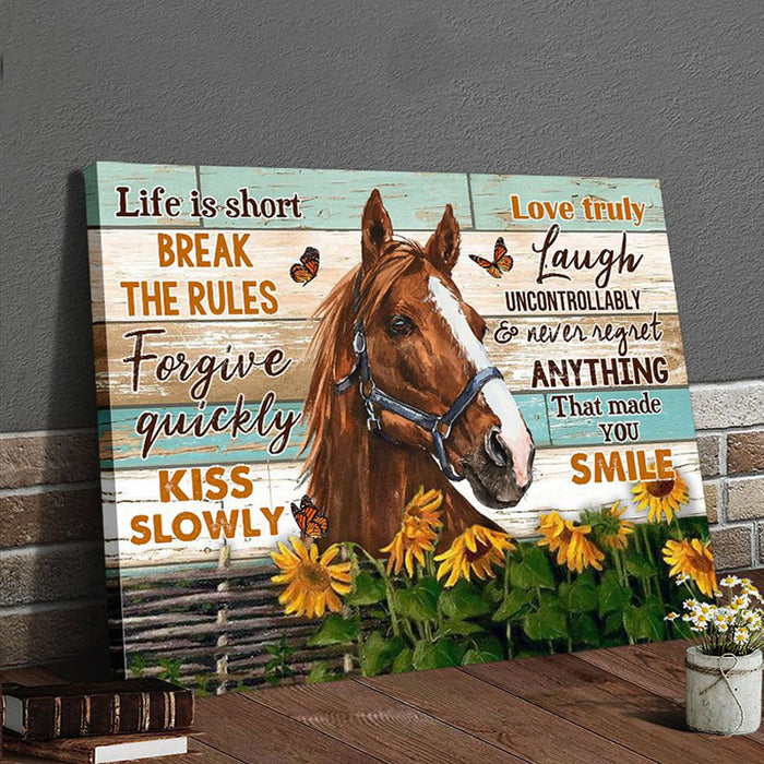 Canvas Horse Hanging Wall Art Decor – Break the rules  - Anniversary Birthday Christmas Housewarming Gift Home Decor