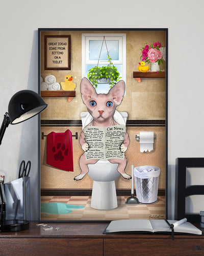 Sphynx Cat Canvas Wall Art - Great ideas come from sitting on a toilet - Anniversary Birthday Christmas Housewarming Gift Home