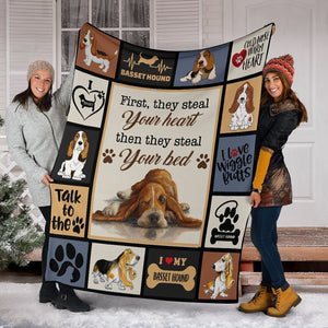Dog Blanket First They Steal Your Heart Basset Hound Dog Fleece Blanket