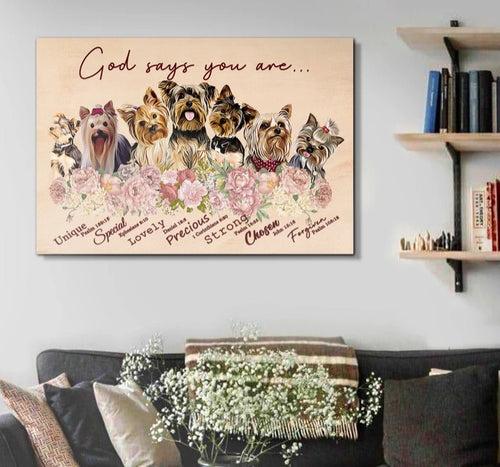 Yorkshire Terrier Dog Floral Canvas, God Says You Are, Dog Flower Canvas