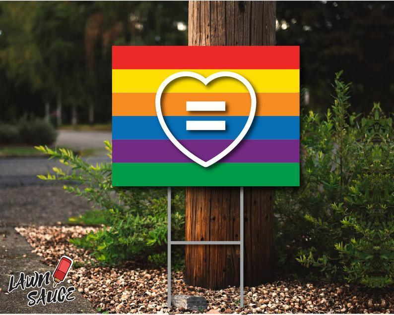 Equality Heart Lawn Sign LGBTQ+ Pride Lawn Sign