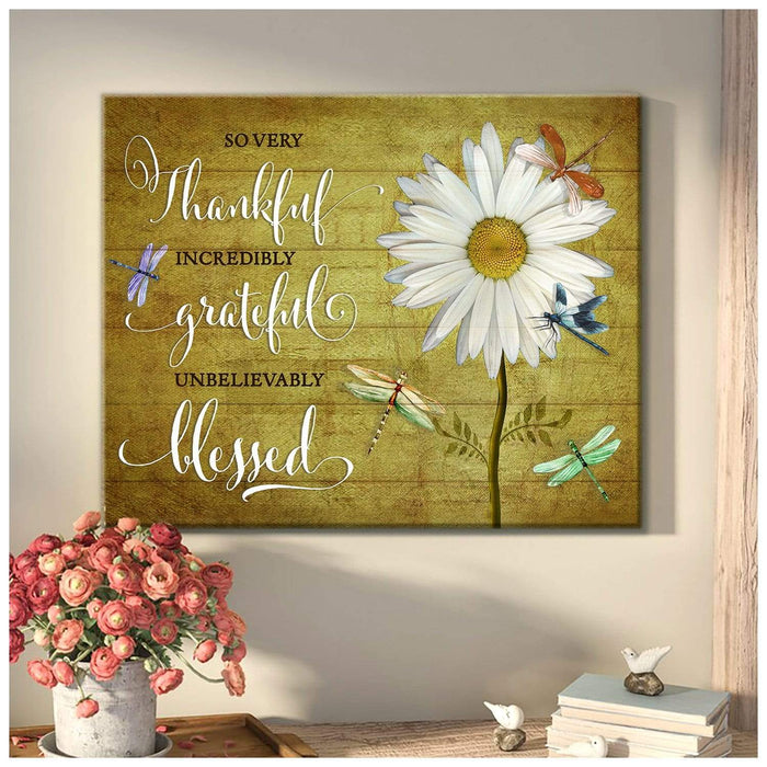 So very thankful Dragonfly Wall Art Canvas  – Dreagonfly Canvas - Anniversary Birthday Christmas Housewarming Gift Home Decor
