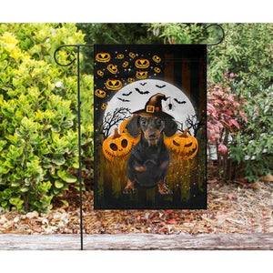 Dachshund - Happy Halloween Flag - Garden flag House Flag