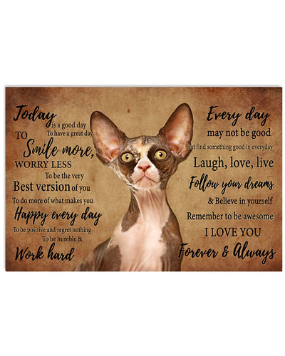 Sphynx Cat Canvas Wall Art - Today is a good day - Anniversary Birthday Christmas Housewarming Gift Home