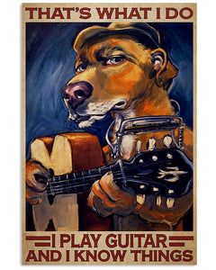 Dog I Play Guitar And I Know Things Vertical Canvas