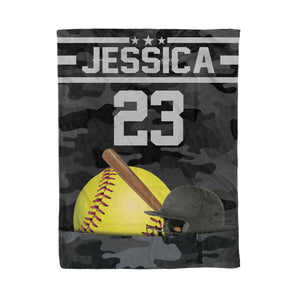 Custom Softball Camouflage Pocket Blanket