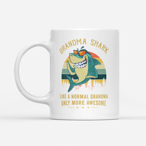 grandma shark like a normal grandma - White Mug