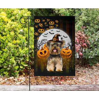 Yorkshire Terrier - Happy Halloween Flag - Garden flag House Flag
