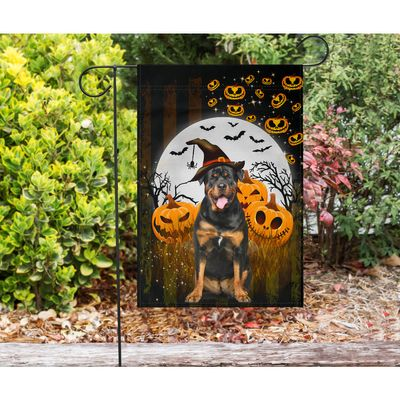 Rottweiler and Halloween Flag - Happy Halloween Flag - Garden flag House Flag