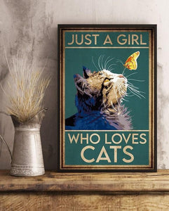 Cat Just A Girl Vertical Canvas - Anniversary Birthday Christmas Housewarming Gift Home