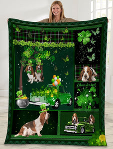 Dog Blanket Basset Hound Dog Irish Shamrock St. Patrick's Day Fleece Blanket