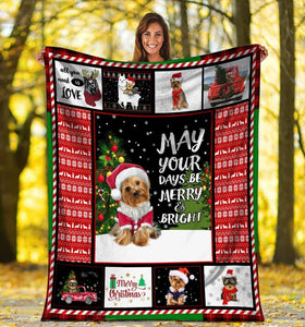 Dog Blanket Christmas Yorkie Yorkshire Terrier Dog May Your Days Be Merry And Bright Xmas Fleece Blanket