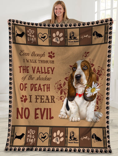 Dog Blanket Even Though I Walk Through The Valley Basset Hound Dog Fleece Blanket