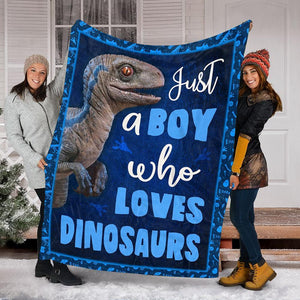 Custom Blanket Dinosaur Blanket - Gift For Boys - Fleece Blanket