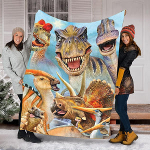 Custom Blanket Dinosaur Funny Blanket - Fleece Blanket