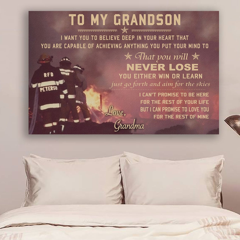 (CV548)Firefighter Canvas - grandson grandma- never lose LHD