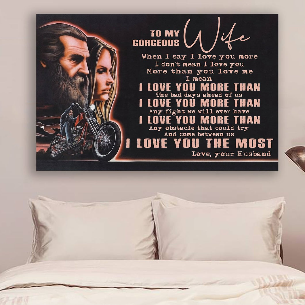 (LL55) Biker Canvas - Husband to wife - I love you more than