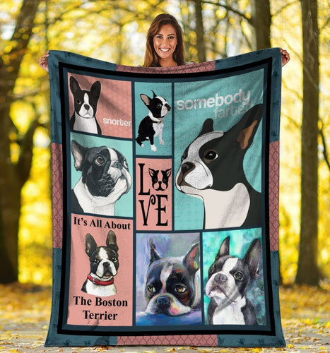 Dog Blanket It's All About The Boston Terrier Dog Fleece Blanket
