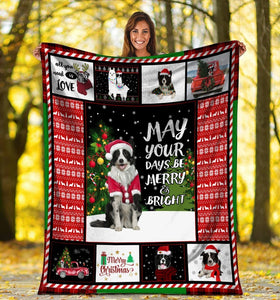 Dog Blanket May Your Days Be Merry And Bright Border Collie Dog Christmas Xmas Fleece Blanket