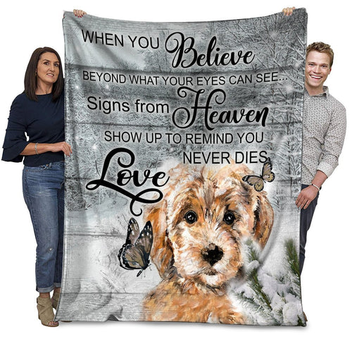 Dog Blanket Poodle Dog When You Belive Beyond What Your Eyes Can See Fleece Blanket