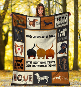 Dog Blanket Money Can Buy A Lot Of Things Dachshund Dog Fleece Blanket