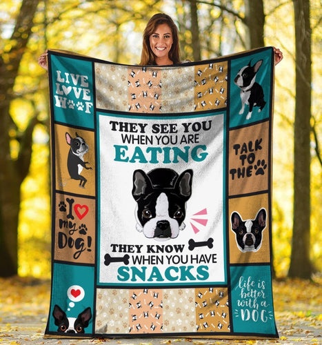 Dog Blanket They See You When You Are Eating Boston Terrier Dog Snacks Fleece Blanket