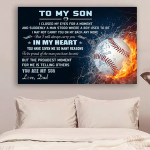 (L191) LVL Baseball Canvas - Dad to son - In my heart