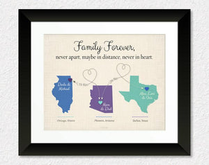 Family Forever, Never Apart, Maybe in Distance, Never at Heart - Customize Canvas