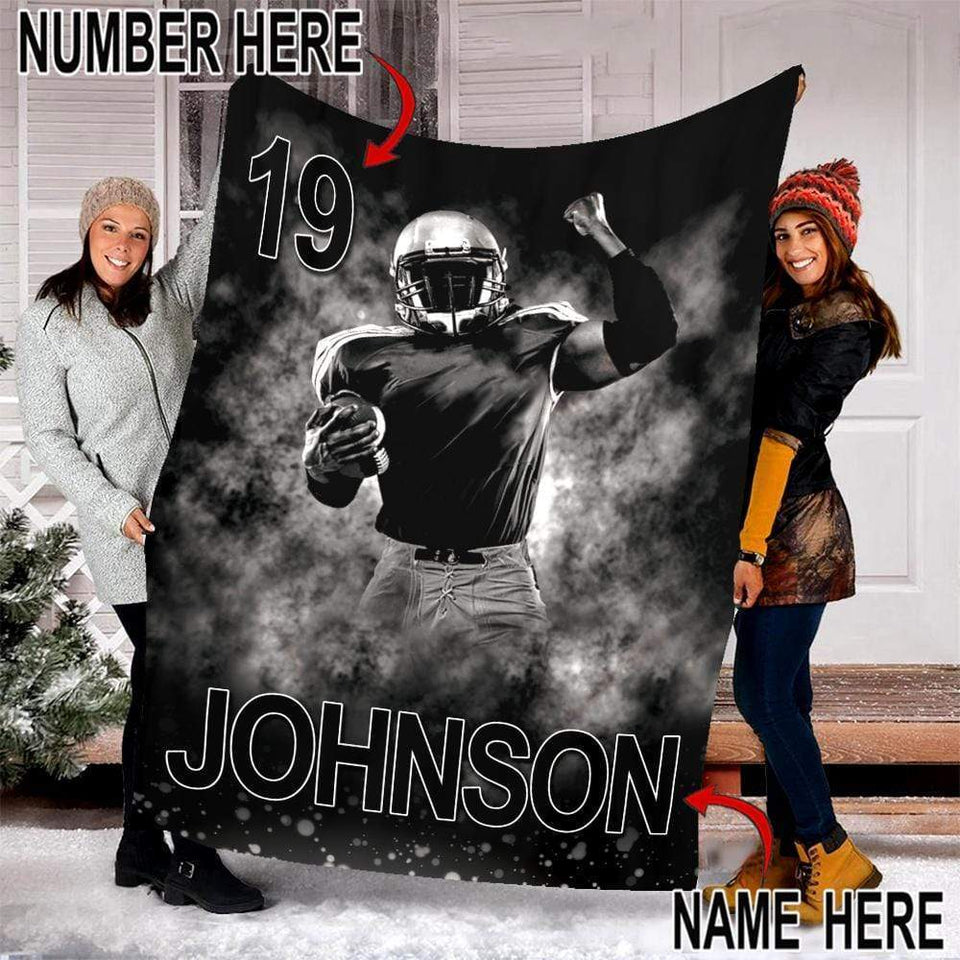 Custom Blankets Football Player With Your Name & Number