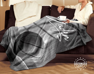 Basketball Ball Black & White Customized Blanket