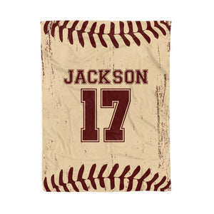 Personalized Retro Baseball Fleece Blanket