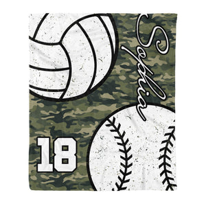 Custom Baseball vs Volleyball on camouflage background blanket