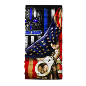 Custom Face Gaiter Cover Police Flag Personalized Name ( Printed in USA ) - Face Gaiter Cover