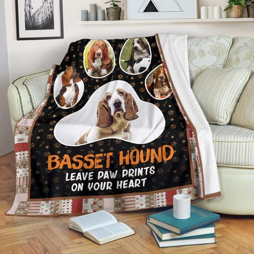 Basset Hound Leave Paw Prints On Your Heart Fleece Blanket
