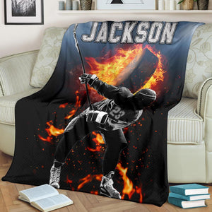 Custom Blanket Hockey Fire