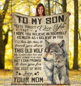 To my Son Wolf Blanket