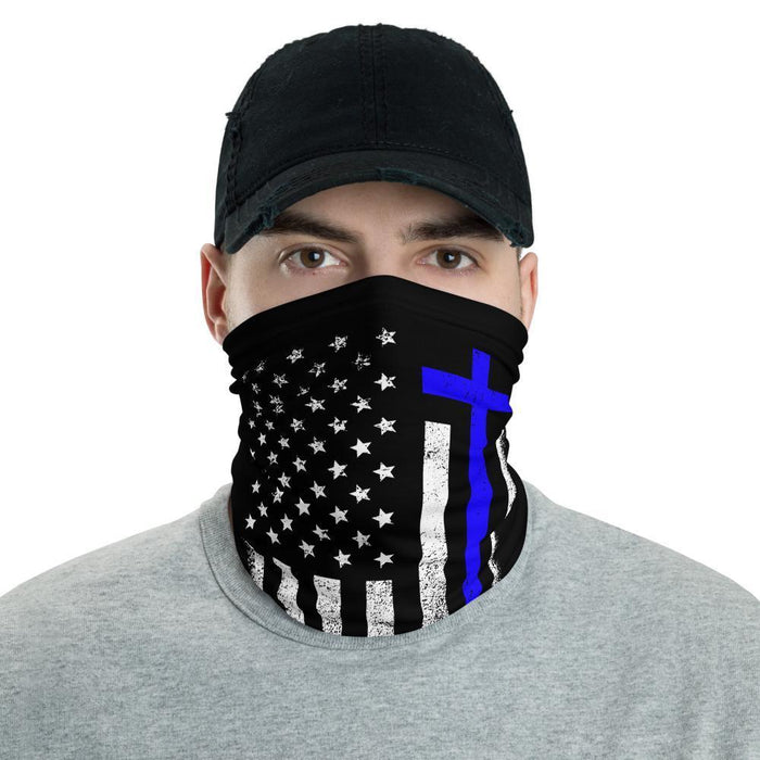 One Nation Under God White & Blue Face Gaiter Cover