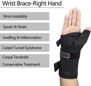 Pro Wrist Brace with Thumb Spica Splint for treat Sprains & Carpal Tunnel Pain