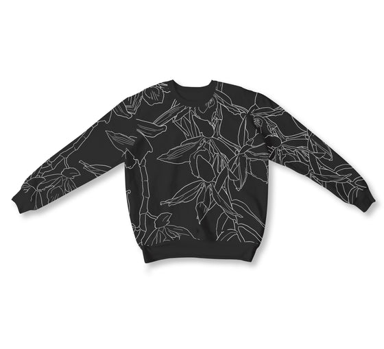 Sanggumay Embroidered L/S Crewneck - BLACK