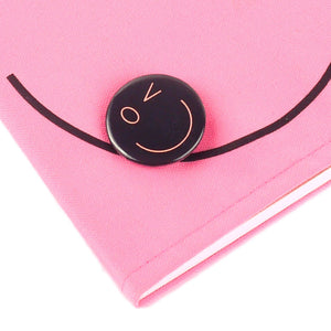 Smiley Wink Pink Doodle Book and Pin Set