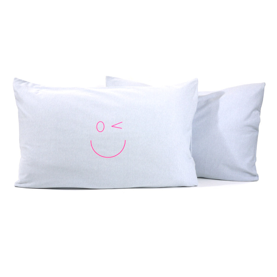 Smiley Wink Face Gray 2 Pc. Bed Pillowcase