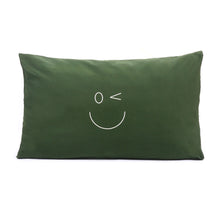 Load image into Gallery viewer, Smiley Wink Face Green 2 Pc. Bed Pillowcase